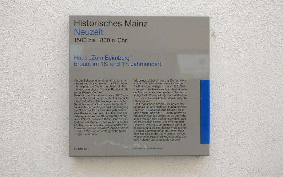"""Mainzer Wände dokumentieren auch Mainzer Geschichte wie hier an der Wand am """"Haus Zum Beimberg"""" am Kirschgarten."""