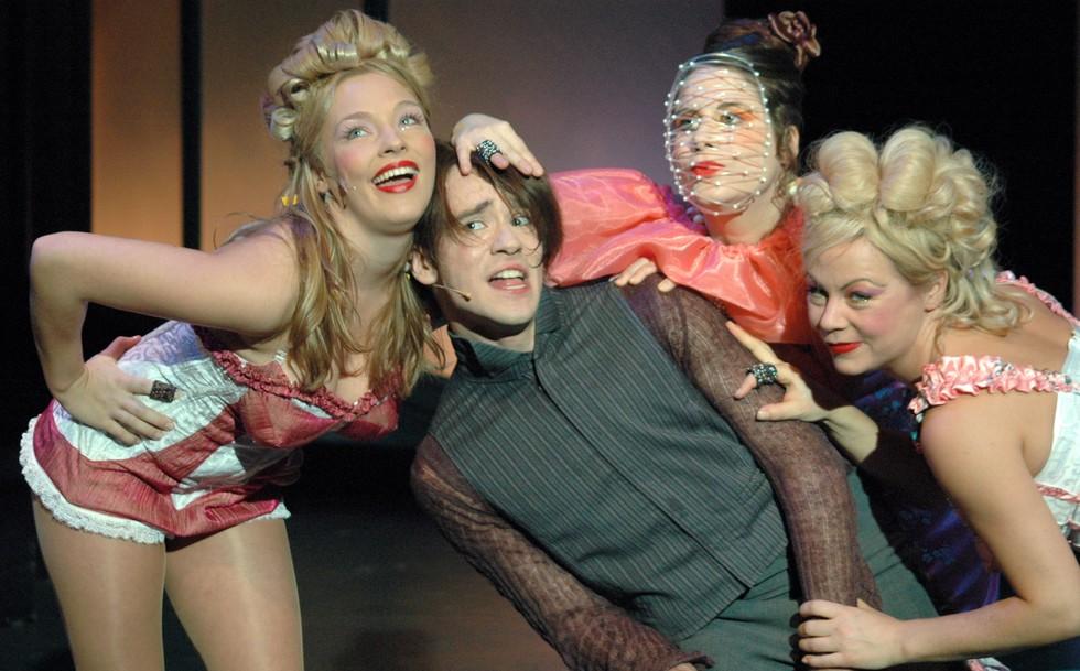 "Kathrin Osterode, Daniel Jeroma, Sonia Hausseguy, Laura Leyh in einer Szene des Theaterstücks ""Schoene Neue Welt"" (Brave New World, by Aldous Huxley) am Grips Theater in Berlin.  (#1)"