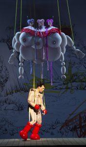 Aus der Inszenierung der Zauberflöte an der Berliner Staatsoper. Julian Prégardien (Tamino), im Hintergrund: Adriane Queiroz (Erste Dame), Cristina Damian (Zweite Dame), Anja Schlosser (Dritte Dame) (#1)